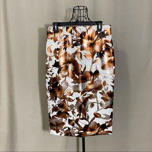 NWOT ECI Metallic Foil Floral Pencil Skirt